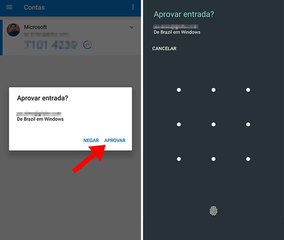 Aprove o login com a senha do celular ou digital no Microsoft Authenticator (Foto: Reprodução/Paulo Alves)