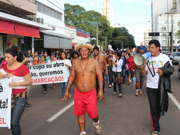 Protesto de indígenas em Campo Grande (Foto: Glaucea Vaccari/G1 MS)