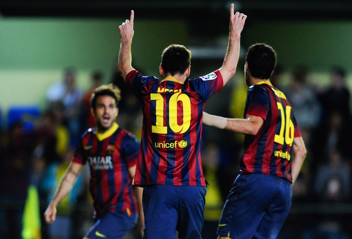Messi comemora, Villarreal x Barcelona (Foto: Getty Images)