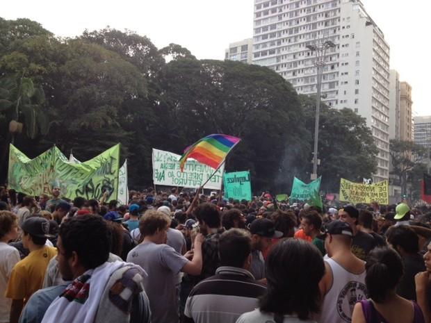 Manifestantes caminham pela Avenida Paulista na Marcha da Maconha (Foto: Vivian Reis/G1)