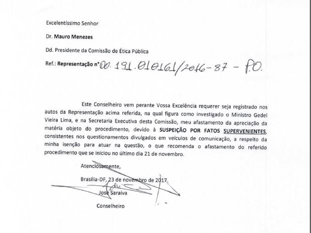 Ofício enviado pelo conselheiro José Saraiva à presidência da Comissão de Ética Pública pedindo dispensa do julgamento do caso Geddel (Foto: Reprodução)