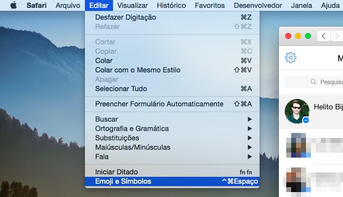 Acessando lista de emojis (Foto: Reprodução/Helito Bijora)
