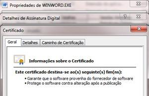 Certificado digital autentica o Microsoft Office Word (Foto: Reprodução)