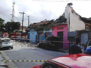 Área do desabamento foi interditada em Cubatão (SP) (Foto: Solange Freitas/G1)