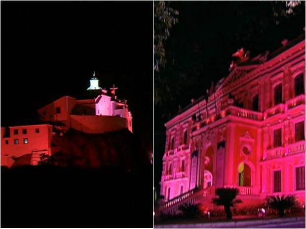 Convento da Penha e Palácio Anchieta ficam rosa contra o câncer de mama. (Foto: Reprodução/TV Gazeta)