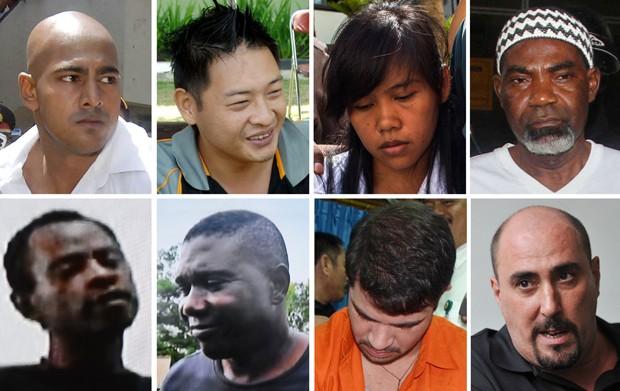 Montagem com fotos de oito dos condenados à morte por tráfico na Indonésia: acima, a partir da esquerda, os australianos Myuran Sukumaran e Andrew Chan, a filipina Mary Jane Veloso e o nigeriano Martin Anderson. Abaixo, os nigerianos Jamiu Owolabi Abashi  (Foto: AFP Photo)