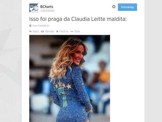 A roupa de Claudia Leitte na abertura também foi caçoada por internautas (Foto: Reprodução/Twitter/BrChats)