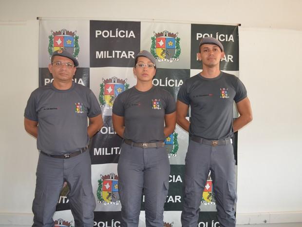 Trio de policiais que participaram de simulação no Centro de Macapá (Foto: Cassio Albuquerque/G1)
