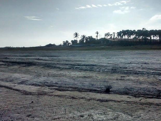 Lagoa está secando devido a seca e ao desrespeito ambiental  (Foto: Joselma Cordeiro/Arquivo Pessoal)
