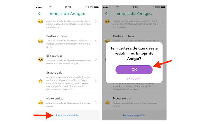 Opção para restaurar os Friend Emojis do Snapchat (Foto: Reprodução/Marvin Costa)