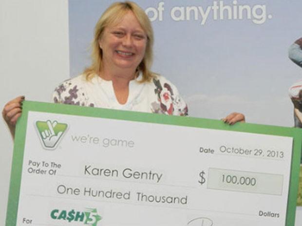 Keren Gentry recebeu seu prêmio faltando apenas quatro horas para o fim do prazo (Foto: Divulgação/Virginia Lottery)