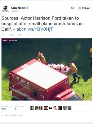Rede ABC mostra atendimento a Harrison Ford nos EUA (Foto: Reprodução / Twitter)