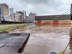Água bate recorde de 48 anos no Guaíba, em Porto Alegre (Foto: Reprodução/RBS TV)