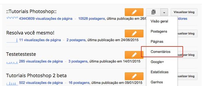 Lista de blogs com acesso para a opção de Comentários (Foto: Reprodução/André Sugai)