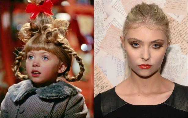 A cantora Taylor Momsen, de 21 anos, roubou a cena em 'O Grinch' (2000), quando tinha apenas 7. (Foto: Reprodução e Getty Images)