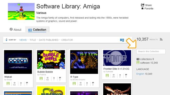 Para buscar jogos de Amiga utilize a busca do lado direito, não do topo do site (Foto: Reprodução/Rafael Monteiro)
