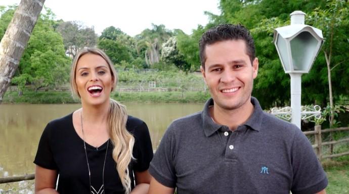 Aline Lima e Pedro Leonardo conhecem espaço que ajuda na preservação da natureza (Foto: reprodução EPTV )