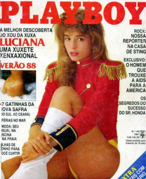 Luciana Vendramini na capa da Playboy em dezembro de 1987 (Foto: Reprodução)