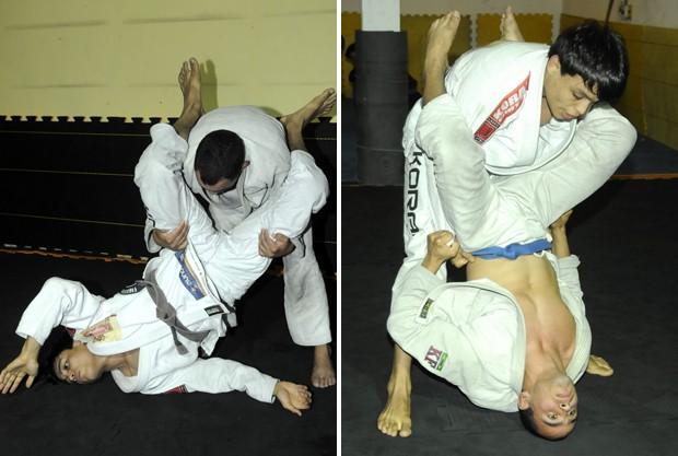 Demonstração de golpes de jiu-jítsu (Foto: Carlos Alberto da Silva/A Gazeta)