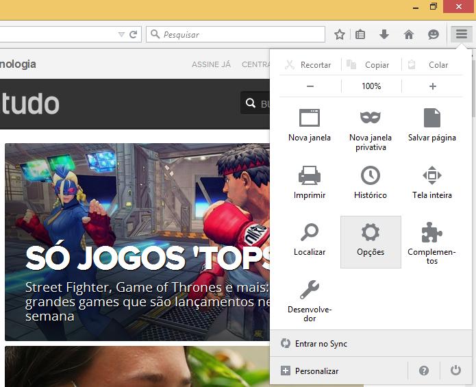 Acesse as configurações do Firefox (Foto: Reprodução/Helito Bijora)