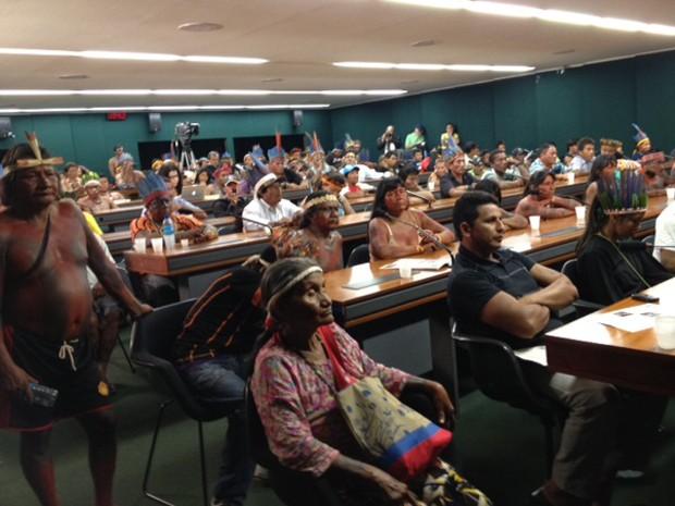 Índios participamd e audiência na comissão de direitos humanso da Câmara (Foto: Iara Lemos/G1)