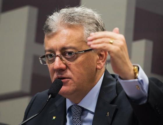 Aldemir Bendine em 2015, quando era presidente da Petrobras  (Foto: Marcelo Camargo/Agência Brasil)