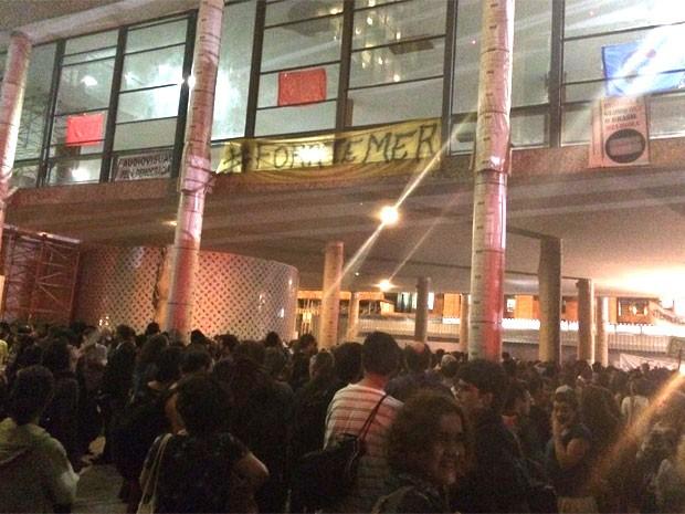 Manifestação contra o fim do Ministério da Cultura no Rio (Foto: Daniel Silveira / G1)