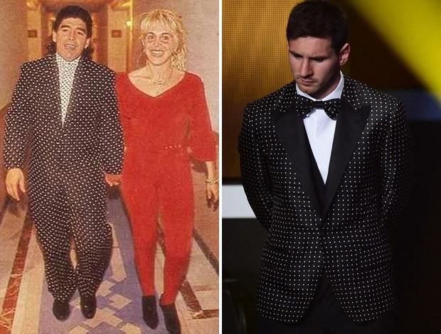 Montagem Maradona Messi (Foto: Montagem sobre foto da AFP)