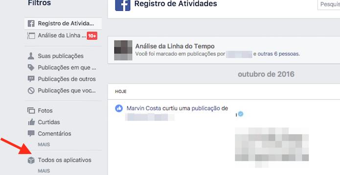 Acesso para atividades de aplicativos na linha do tempo do Facebook (Foto: Reprodução/Marvin Costa)