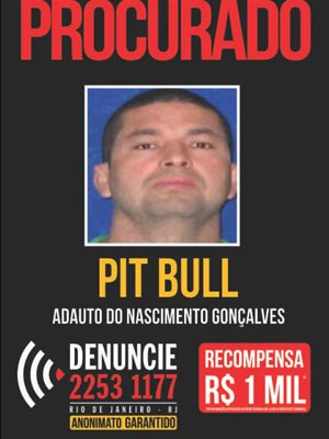 Adauto Gonçalves, o Pitbull está foragido desde julho de 2013 (Foto: Reprodução/ Disque-Denúncia)