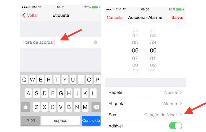 Definindo um nome para o alarme e acessando as configurações de som de alerta do despertador do iPhone (Foto: Reprodução/Marvin Costa)