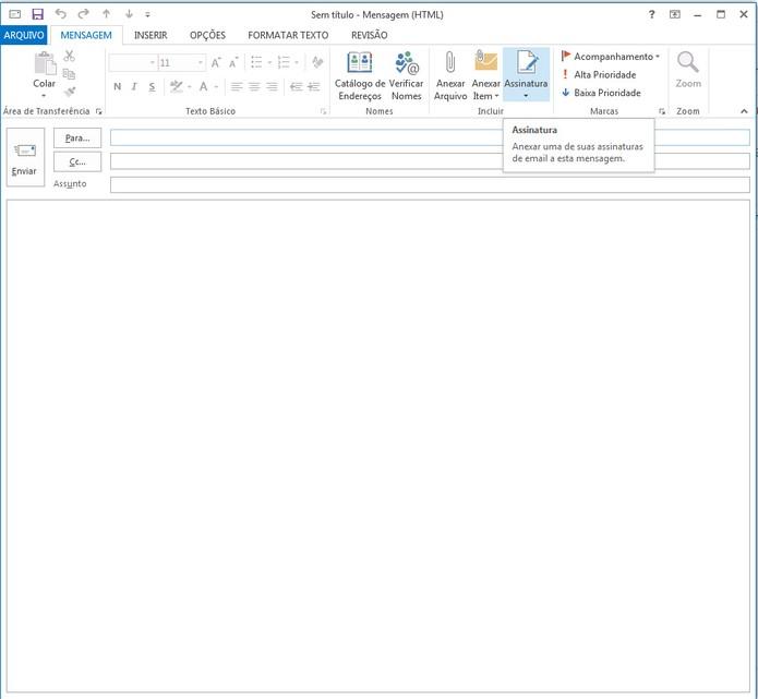 Ao escrever uma nova mensagem, clique em Assinatura para adicionar sua assinatura personalizada (Foto: Reprodução/ Lu Fávero) (Foto: Ao escrever uma nova mensagem, clique em Assinatura para adicionar sua assinatura personalizada (Foto: Reprodução/ Lu Fávero))