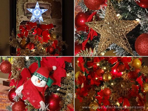 decoracao arvore de natal vermelho e dourado:de Heloísa tem dois metros de altura e abusa do vermelho e dourado