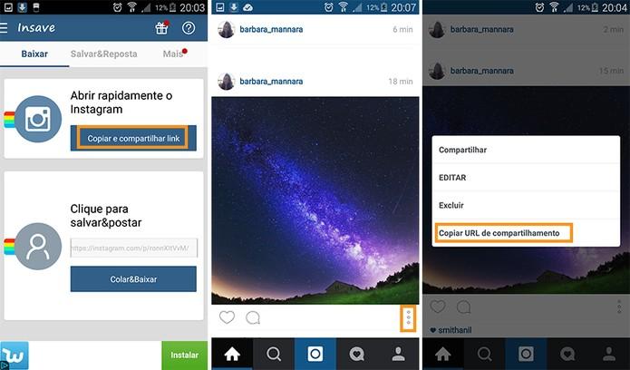 Escolha a foto e copie o link de compartilhamento no Instagram (Foto: Reprodução/Barbara Mannara)