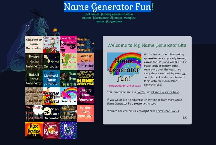 Ideal para games, o Name Generator Fun também exibe quadros descrevendo características sobre a personalidade do nick inventado (Foto: Reprodução/Daniel Ribeiro)