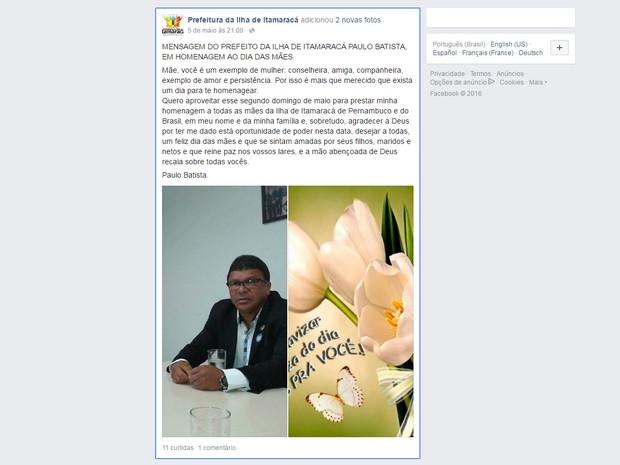Segundo MPPE, publicações não possuem tom de impessoalidade de uma página institucional (Foto: Reprodução/Facebook)