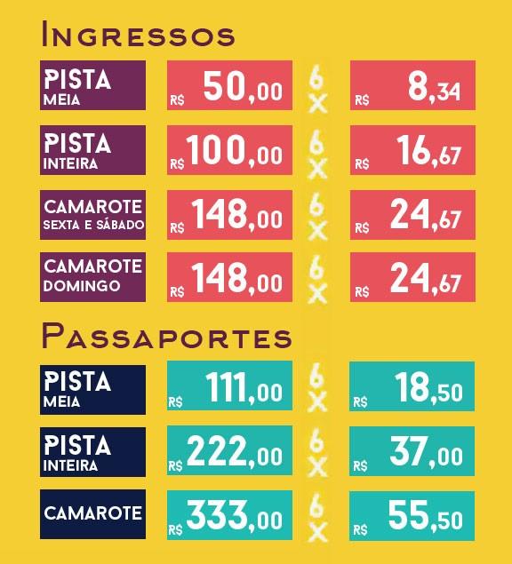 Tabela de preços virada FIB (Foto: Arte / divulgação)