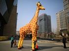 Artistas criam escultura de 6,16 metros de girafa feita com legos