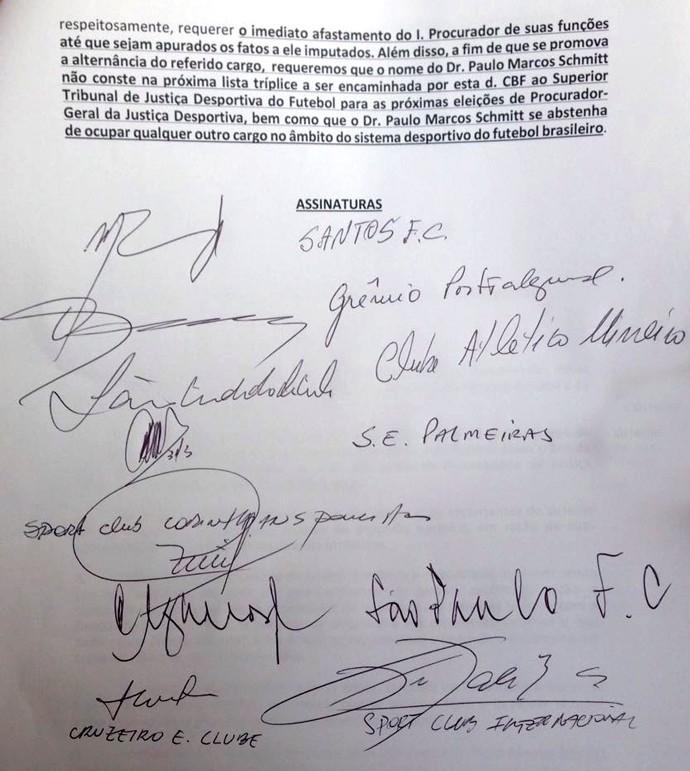 carta dos clubes contra paulo schmitt, do stjd - 2 (Foto: Reprodução)