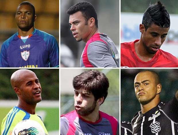 montagem Dida, Rodolfo, Léo Moura, Marcos Assunção, Juninho, Julio Cesar (Foto: Editoria de Arte/Globoesporte.com)