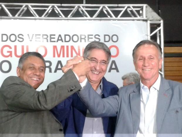 Fernando Pimentel pré-candidato PT prefeitos Paulo Piau Uberaba Gilmar Machado Uberlândia (Foto: Alex Rocha/ G1)