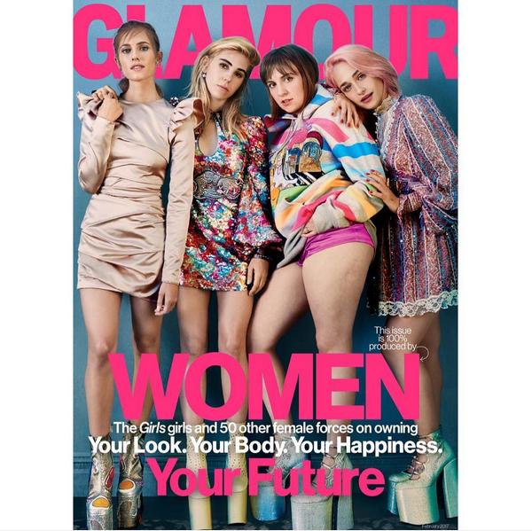 A capa estrelada por Lena Dunham e suas colegas de 'Girls' (Foto: Instagram)