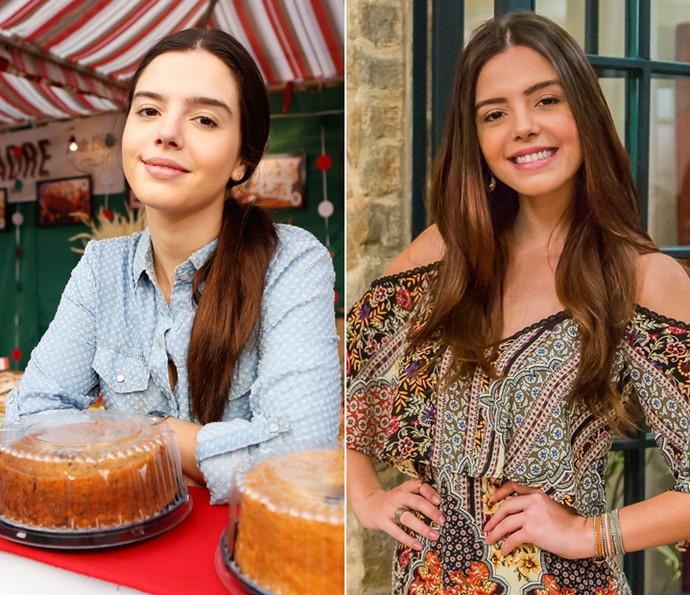 Desde o início da trama, a jovem só tinha usado cabelo preso e roupas que não valorizavam sua beleza (Foto: Ellen Soares e Artur Meninea/Gshow)