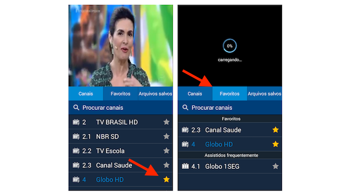 Adicionando um canal na lista de favoritos da TV digital do Galaxy Gran Prime (Foto: Reprodução/Marvin Costa)
