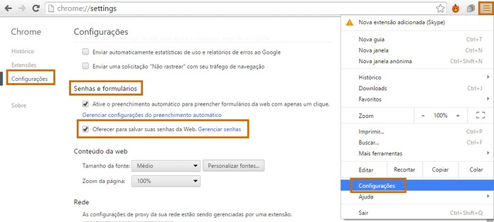 Configure o Chrome para salvar as senhas, inclusive a do Gmail (Foto: Reprodução/Barbara Mannara)