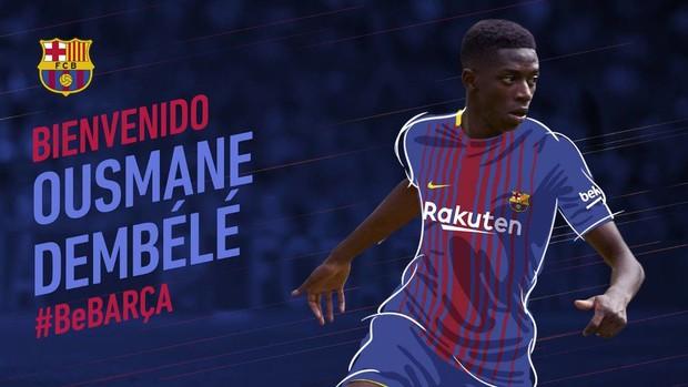 Barcelona anuncia a contratação de Dembélé