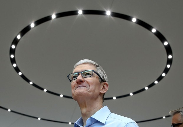 O CEO da Apple, Tim Cook, durante apresentação dos produtos da empresa (Foto: Justin Sullivan/Getty Images)
