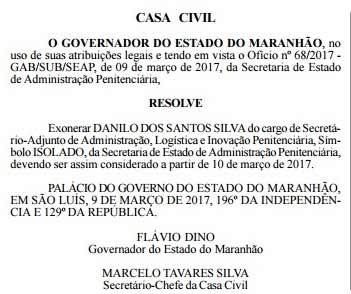 Exoneração de Danilo (Foto: Reprodução/ Diário Oficial)