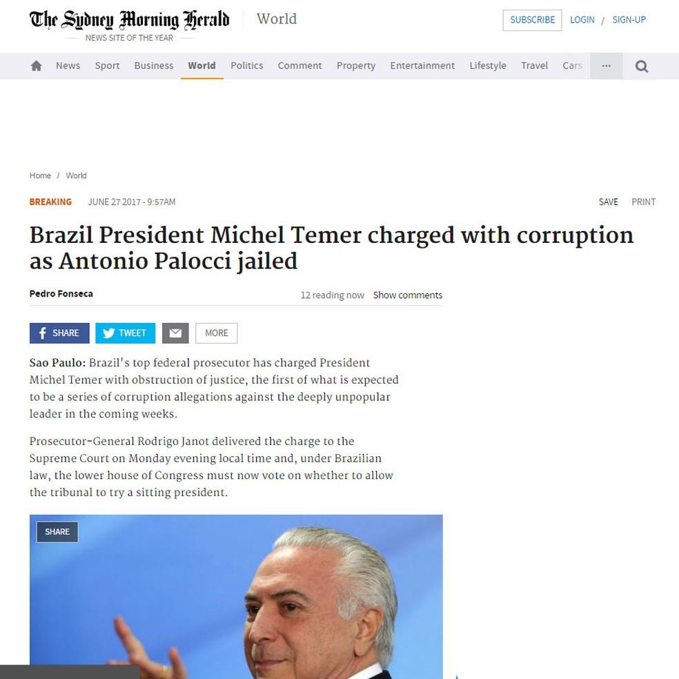 Denúncia de Janot contra Temer é noticiada pelo 'Sydney Morning Herald', da Austrália (Foto: Reprodução/ Sydney Morning Herald)