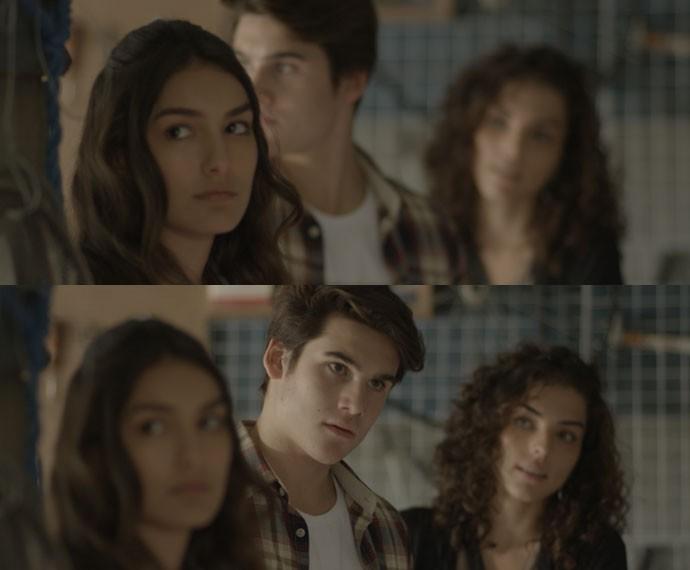 Luciana e Rodrigo encaram Pedro (Foto: TV Globo)